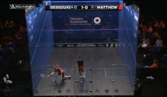 Cutting off the ball before the back wall