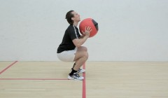 Medicine ball squat and press