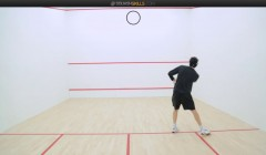 Where to aim on the front wall when serving
