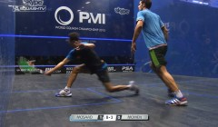 Tarek Momen's cross court volley drops