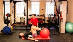 Stability ball hip bridge
