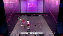 Nicol David's backhand volley drop