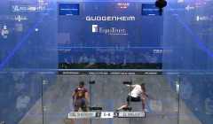 Nour El Sherbini's volley drops