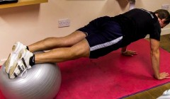 Stability ball roll-ins