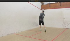 Using an open stance on the high forehand volley
