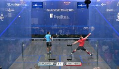 Nick Matthew's forehand volley drop