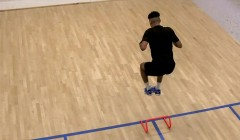 Hurdle hop into quick feet drill