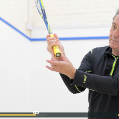 Correct way to hold the squash racket palm of hand
