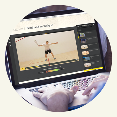 online squash coaching videos on laptop