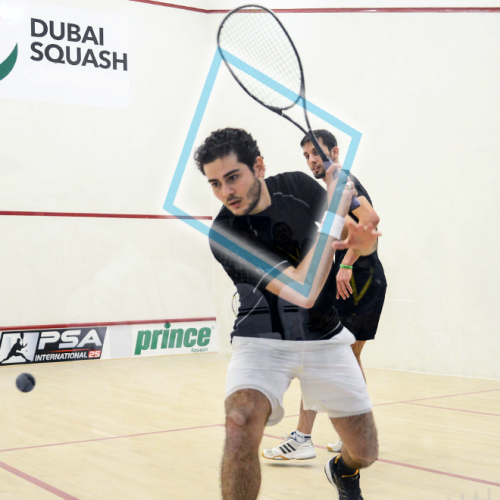 The backhand diamond squash swing